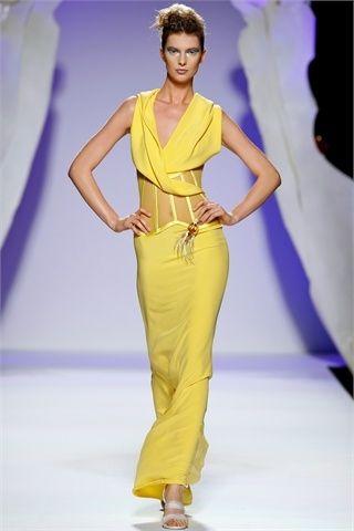 Gattinoni moda donna abito lungo giallo
