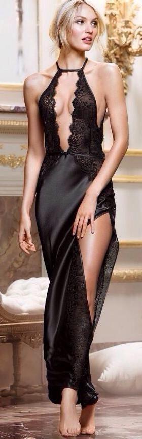 abito da sera nero con spacco