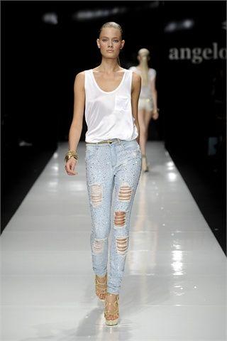 Jeans strappati azzurri by Angelo Marani